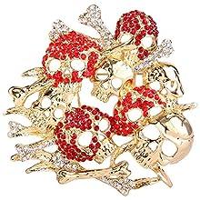 EVER FAITH Women's Austrian Crystal Vintage Inspired Halloween Skull Bones Brooch Red Gold-Tone