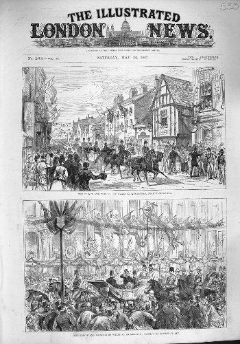 Old Original Antik viktorianischen Print 1887Prince Wales Manchester Albert Arch Füllfederhalter...