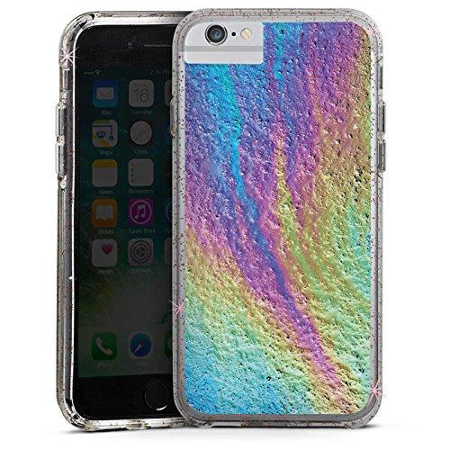 Apple iPhone 6 Bumper Hülle Bumper Case Glitzer Hülle Regenbogen Farben Muster Bumper Case Glitzer rose gold