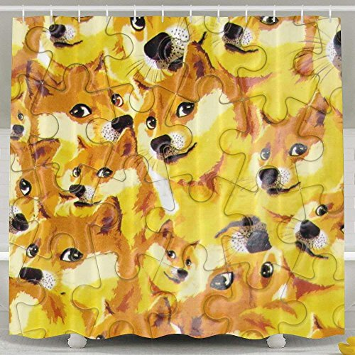 nu Hund Puzzle geruchlos Wasserdicht Dusche Vorhänge für Badezimmer Premium 100% Polyester Stoff Deko Wanne Vorhang Designs für Vater 's Day Muttertag 152,4x 182,9cm ()
