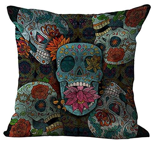 chezmax Indian Skull Kissenhülle Baumwolle Leinen Überwurf Kissen Fall Sham Kissenbezug, für Senioren Schlafzimmer Sofa Couch Schaukelstuhl Sitz (Sham Stoff)