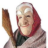 Masque de grand-mère vieille avec rides femme avec cheveux et foulard visage sorcière conte mamie accessoire déguisement