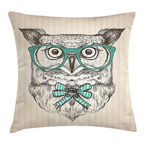 Yinorz Owl Throw Pillow Cushion Cover, Forest Bird with Hipster Glasses Bow Tie on Vertical Stripped Backdrop, Decorative Square Accent Pillow Case, 18 X 18 Inches, Beige Turquoise Dark Taupe