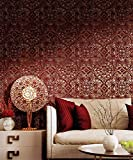 Tapete Oriental Rot Bordeaux mit Position goldfarben gealtert. Konzept 9838. CRISTIANA MASI