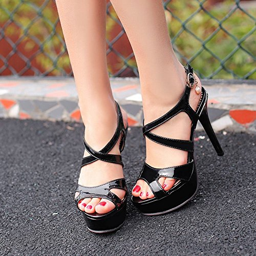 Mee Shoes Damen reizvoll modern Minimalismus Schnalle Peep toe Slingback Stiletto mit falscher Perle Plateau Sandalen Schwarz
