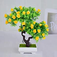 Supermall New Mini Artificial Yellow Roses Bonsai Flowers with Pot and Bonsai with Tree & Original Feeling Romantic Rose for Home Decoration