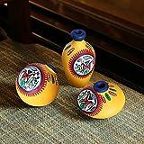 ExclusiveLane Terracotta Warli Handpainted Miniature Yellow Pots Set of 3 - Vases Decorative Item Home Decor Gift Item