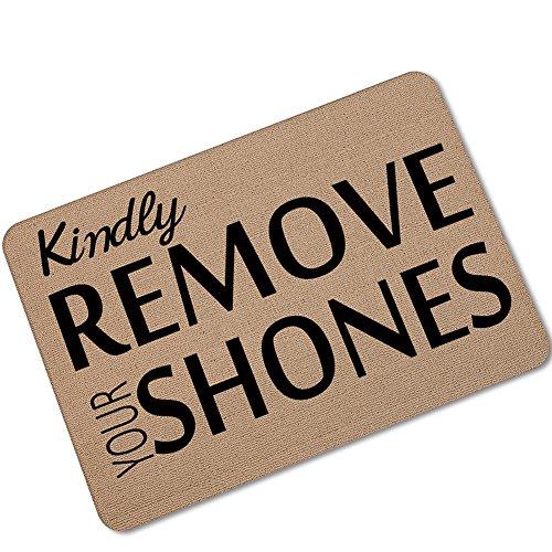 eureya Bitte entfernen Sie Ihre Schuhe Tür Mats Fußmatte Rutschfeste Badezimmer Wohnzimmer Küche Matte Bereich Teppiche für drinnen/draußen 40x 60cm (Bitte Entfernen Sie Schuhe Tür Matte)