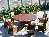 Runder Gartentisch aus massiv Eiche oder Fichte für 8 Personen - Rustikale Gartenmöbel aus Handarbeit