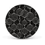 banjado - Magnettafel rund 47cm  aus Stahl schwarz oder weiß lackiert mit Motiv Lampions SW, Magnettafel rund weiß