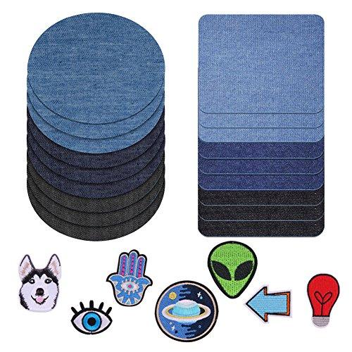 Denim-patch-kit (Patches zum aufbügeln, 24 Stück 3 Farben Denim Baumwolle Patches Bügeleisen Reparatursatz,2 Größen, plus plus 7 Stücke in verschiedenen Stilen Aufbügelflicken.)