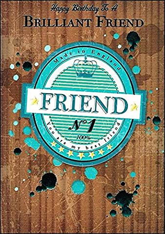 Gold Male Friend Birthday Card Just For You Swirls 7.5