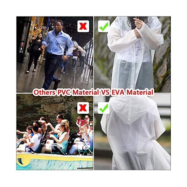 Luoistu Reusable Rain Ponchos, EVA Waterproof Raincoat with Drawstring Hood and Long Sleeves; Emergency Poncho (145cm / 57inch) for Travel, Festivals, Theme Parks and Outdoors 4