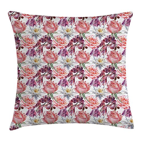 Floral Decor Throw Pillow Cushion Cover, Watercolor Rose and Orchid Lily Flowers Motif Natural Elegance Petals Artwork, Decorative Square Accent Pillow Case, 18 X 18 Inches, Pink Coral