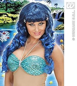 WIDMANN Edle Perücke Meerjungfrau in blau