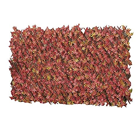 Artificial Leaf Hedge, Instant Privacy Screening Panel for Gardens, Balcony and Terraces (1 x 2m, Artificial Red Maple Hedge Trellis)