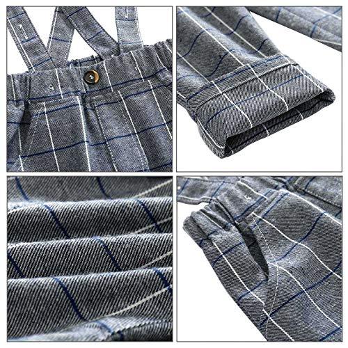 Feoya Jungen Outfits langarm Frühlinganzug Fliege Taufanzug Baby Baumwolle Hemd Hose Set Hochzeit Anzug 6-9 Monaten - 6