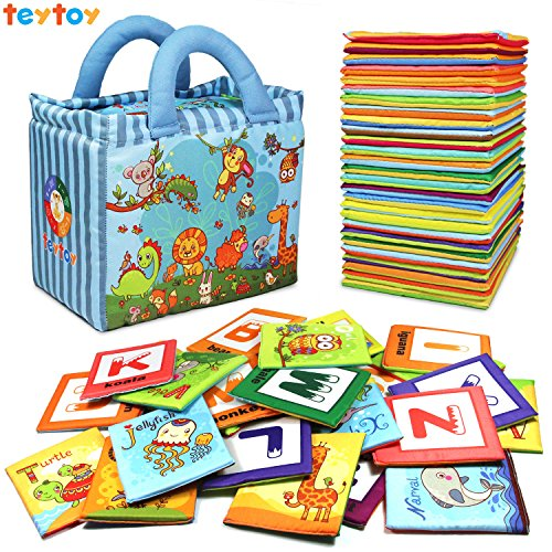Baby Cloth Book Soft Toy 26pcs Alphabet Cards Educational Tool with Storage Bag for Toddler 61OK7Ilw eL