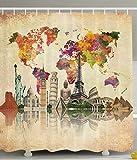 BBFhome Hem Gewichte Polyester Gewebe Badezimmer Duschvorhang mit Haken Alte Landkarten Kultur Große Vintage Karte von der Welt Drucke 180 ( L ) x 200 (H) CM