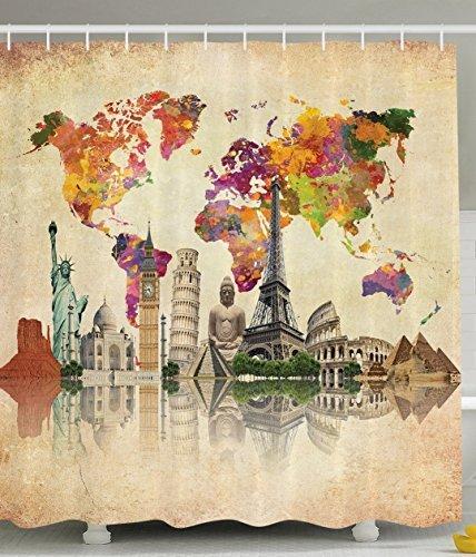 BBFhome Hem Gewichte Polyester Gewebe Badezimmer Duschvorhang mit Haken Alte Landkarten Kultur Große Vintage Karte von der Welt Drucke 180 ( L ) x 200 (H) CM (Leopard Haken)