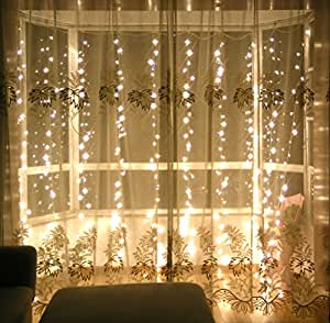 lebefe 3m x 3m 300 led icicle curtain lights christmas. Black Bedroom Furniture Sets. Home Design Ideas