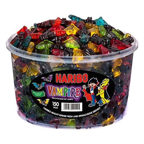 Haribo Vampire, 150 Stück, Fruchtgummi Weingummi mit Lakritz, 1200g Dose