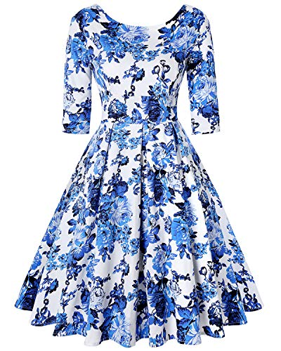 MINTLIMIT Classy Floral Ärmellos Picknick Party Cocktail Vintage Kleid for Teens (Floral Blau,Größe L) (Floral Kleider Für Teens)
