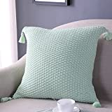 mixinni® Haus Dekor Kissenbezug Baumwolle Gestrickt Zierkissenbezug Dekorative Quadrat Sofa/Bett/Auto/Stuhl Dekokissen Bettkissen Quaste Stil Kissenhülle 45 * 45cm