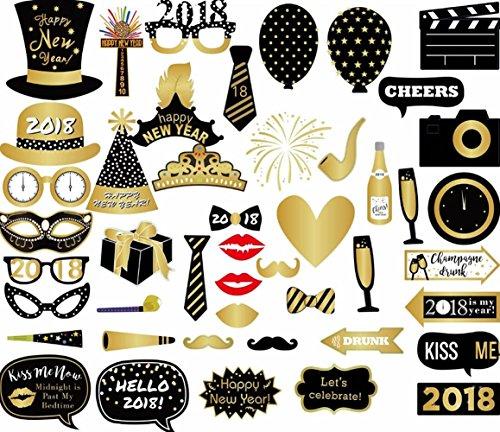 Veewon-2018-Neujahr-Party-Foto-Booth-Requisiten-46-stcke-Lustige-DIY-Kit-Photobooth-Requisiten-fr-Silvester-Party-Dekoration-zug