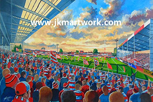Kingsholm Stadion Fine Art A4Print-Gloucester Rugby-Union-Club