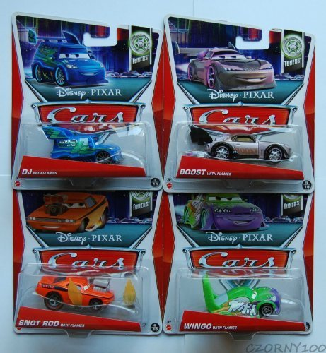 2013 Disney Pixar Cars DJ with Flames, Boost with Flames, Snot Rod with Flames, Wingo with Flames - Complete Set of 4 - Tuners by Mattel
