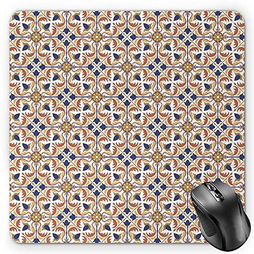 HYYCLS Moroccan Mauspads, Traditional Mosaic Tile Motif with Old Fashioned Floral Arabesque Scroll Design, Standard Size Rectangle Non-Slip Rubber Mousepad, Multicolor -
