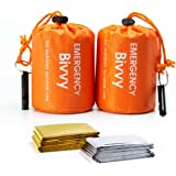 Shayson Sacco a Pelo d'Emergenza,Coperta di Sopravvivenza Riutilizzabile,Isolamento Termico Esterno Arancione Interno…