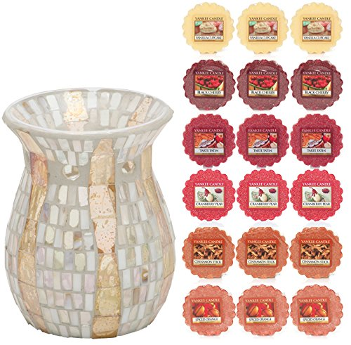 Official Yankee Candle Gold Wave Mosaic Melt Warmer Includes 18 Wax Melts