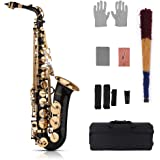 Muslady Eb Alto Saxofón Latón Oro 82Z Tipo de Instrumento de Viento de Madera con Estuche Acolchado Guantes Paño de Limpieza