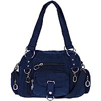 Christian Wippermann Damenhandtasche Schultertasche Tasche Umhängetasche Canvas Shopper Crossover Bag Blau