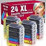 ms-point® 24 kompatible Patronen mit Chip für Canon Pixma IP4200 IP4200X IP4300 IP4500 IP4500X IP5200 IP5200R IP5300 IP6600 IP6600D IP6700D MP500 MP530 MP600 MP600R MP610 MP800 MP800R MP810 MP830 MP970 MX850 Pro9000 Pro9000MarkII PGI-5BK CLI-8BK CLI-8C CLI-8M CLI-8Y