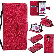Funda LG G3 (5,5 Zoll) Case , Ecoway Girasoles patrón en relieve PU Leather Cuero Suave Cover Con Flip Case TPU Gel Silicona,Cierre Magnético,Función de Soporte,Billetera con Tapa para Tarjetas ,Carcasa Para LG G3 (5,5 Zoll) - rojo