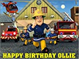 A4-Sam le pompier comestible personnalisable pour gâteau d'anniversaire