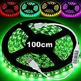 50cm - 3 Meter USB Lichterkette LED RGB 5050 60LEDs/m LED Licht Streifen Strip Leiste Mit Controller für 20 Farben Fade Flash Selbstklebend 3M für Fernseher, Auto, PC, Powerbank und vieles mehr