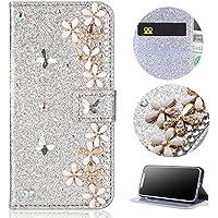 Sycode - Funda Tipo Cartera para iPhone X (Piel sintética, Cierre magnético, función Atril, diseño de Diamantes Brillantes, con Efecto Brillante, con Ranuras para Tarjetas), Color Morado