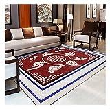 Tapis/tapis rectangulaire de luxe chinois, salon Canapé-lit de chambre (couleur: Tempérament rouge) (taille : 80 * 120cm)...