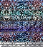 Soimoi Blau Seide Stoff Streifen & Mandala Kaleidoskop