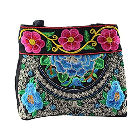 Zhhlinyuan Casual sacs Canvas Shoulder Bags Special Pattern Flowers Bag Ladies Embroidery Package for Fashon Womens