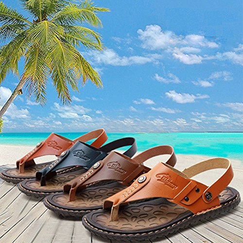 Newbestyle Sommer Strand Sandalen Herren Pantoletten Zehentrenner Dunkelbraun