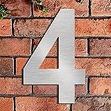 Cepillado número de casa 4 cuatro -20.5 cm 8.1 in-made de sólido Acero inoxidable 304 flotante apariencia, fácil de instalar