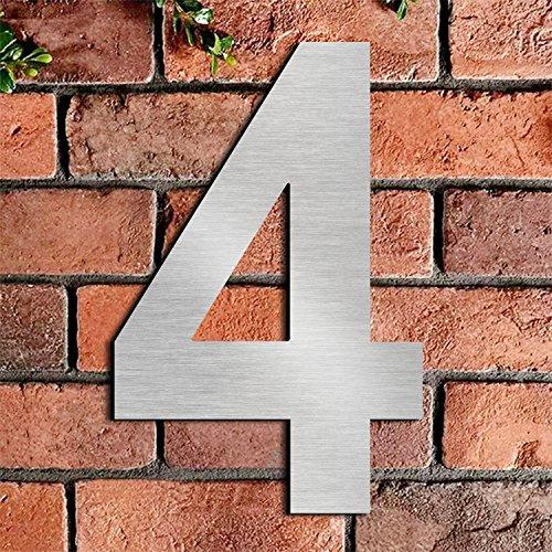 Gebürstetes Haus Nummer 4 Viertens-20.5cm 8.1in-gemacht vom festen Edelstahl 304, sich hin- und herbewegendes Aussehen, einfach anzubringen