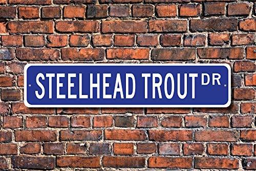 Dozili Steelhead Forelle Steelhead Forelle Geschenk Stahlhead Forellenschild Forellendeko Forellenliebhaber Fisch Custom Street Sign Quality Metal Sign 10,2 x 45,7 cm -
