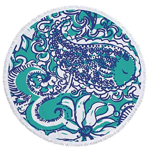 SUYUN Bedrucktes rundes Strandtuch mit gefranstem Sonnenschutz -08 150 * 150cm