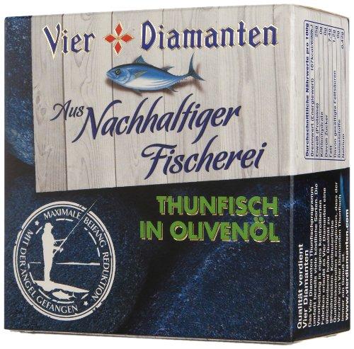 Vier Diamanten Thunfischfilets Olivenöl - Pole & Line (mit der Angel gefangen) - FQSP, 4er Pack (4 x 160 g) -